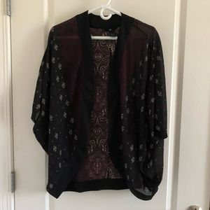 H&M Black Printed Sheer Kimono Cover Up Cardigan